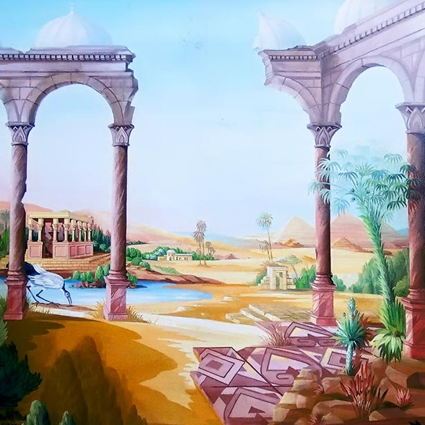 Egyptian landscape with temple, pyramid and ibis