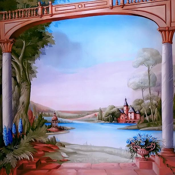 Arc with colombs, manor on waterside