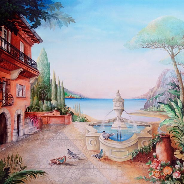 Casa on sea side with sea-view, waterfountain and doves