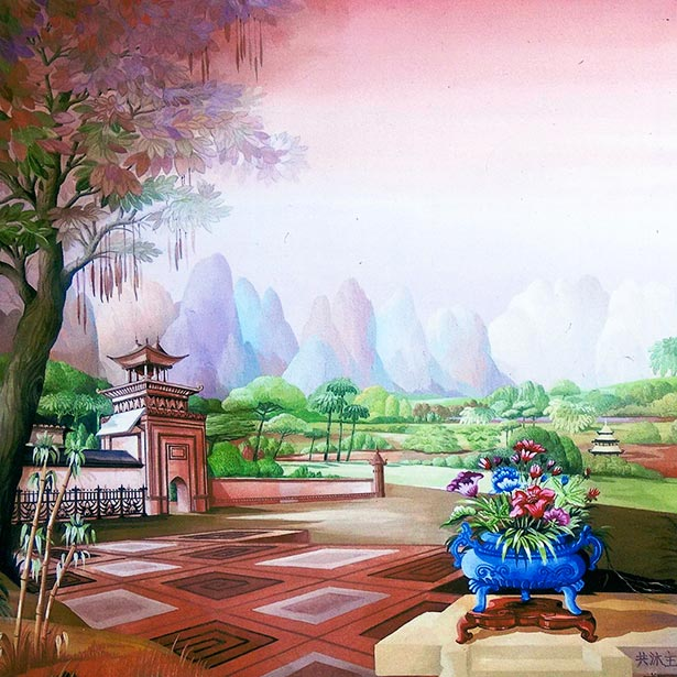 China landscape with mountains, garden and flower bouquet