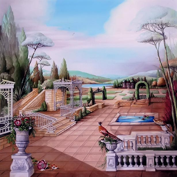 Garden terrasse with grillages mountains, manor and pheasant