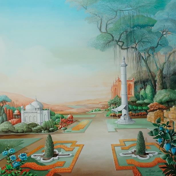 Hellmuth Dieken - Indian landscape with palace and observatorium column