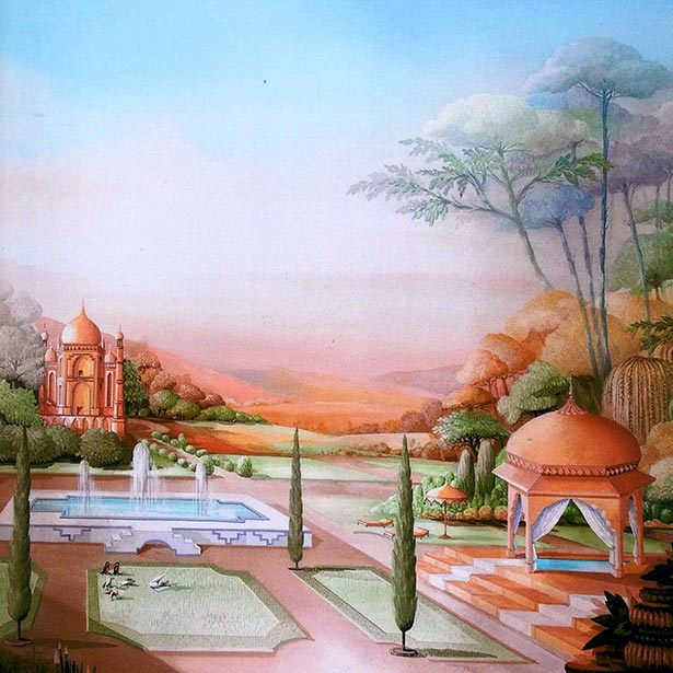 Indian landscape with pavillon, temple and swimming pool