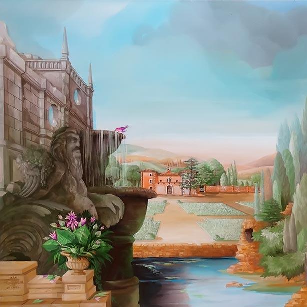 Italian Manor with garden, neptun monument and water basin