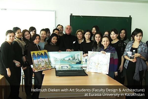 Hellmuth Dieken mit Kunst-Studenten