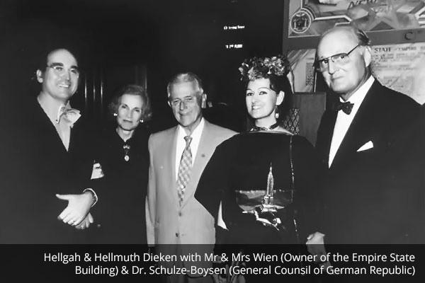 Hellmuth und Hellgah Dieken mit Prominenten im Empire States Building
