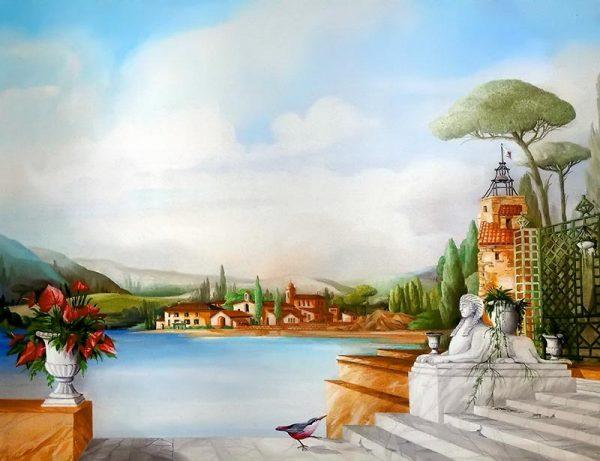 Mediteranien village on the sea with sphinx and callas bouquet
