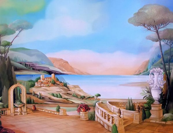 Mediteranien village with sea-view, mountains and with white vase