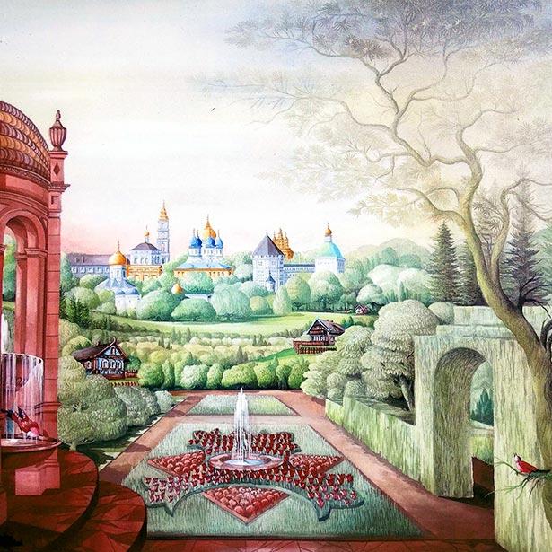 Hellmuth Dieken - Russian landscape with monastere